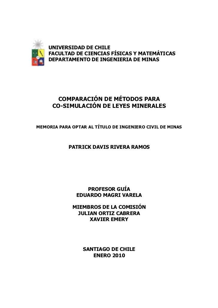 UNIVERSIDAD DE CHILE    FACULTAD DE CIENCIAS FÍSICAS Y MATEMÁTICAS    DEPARTAMENTO DE INGENIERIA DE MINAS       COMPARACIÓ...