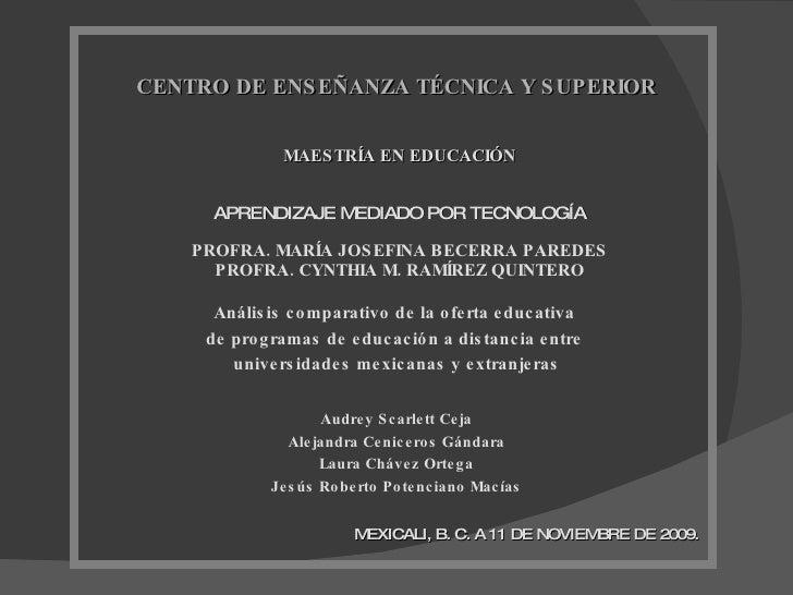 MAESTRÍA EN EDUCACIÓN APRENDIZAJE MEDIADO POR TECNOLOGÍA PROFRA. MARÍA JOSEFINA BECERRA PAREDES PROFRA. CYNTHIA M. RAMÍREZ...