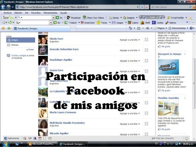 Participación en Facebook de mis amigos