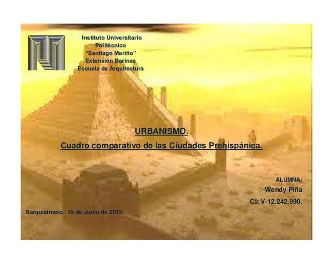 URBANISMO. Cuadro comparativo de las Ciudades Prehispánica. ALUMNA: Wendy Piña CI: V-12.242.990. Barquisimeto, 19 de Junio...
