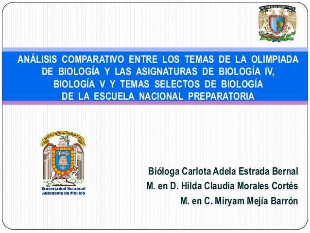 Bióloga Carlota Adela Estrada Bernal M. en D. Hilda Claudia Morales Cortés M. en C. Miryam Mejía Barrón ANÁLISIS COMPARATI...