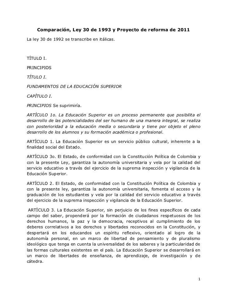 Comparación, Ley 30 de 1993 y Proyecto de reforma de 2011La ley 30 de 1992 se transcribe en itálicas.TÍTULO I.PRINCIPIOSTÍ...