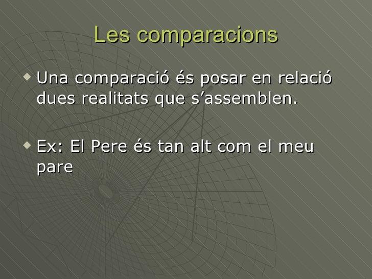 Les comparacions <ul><li>Una comparació és posar en relació dues realitats que s'assemblen.  </li></ul><ul><li>Ex: El Pere...