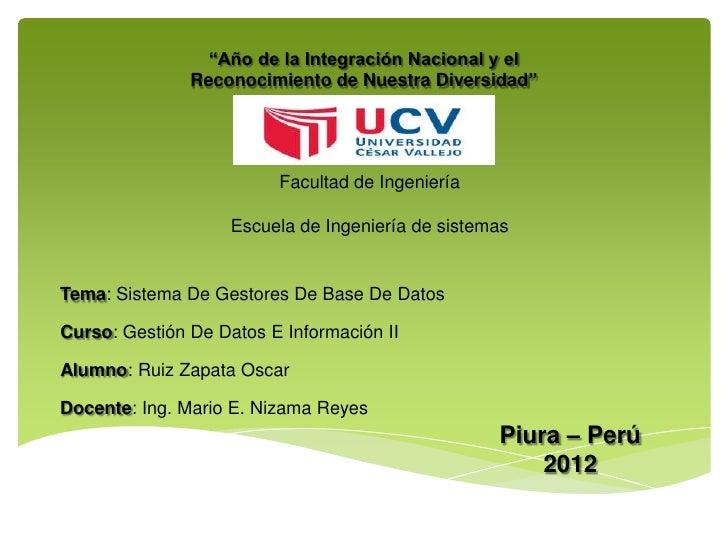 """""""Año de la Integración Nacional y el               Reconocimiento de Nuestra Diversidad""""                         Facultad ..."""
