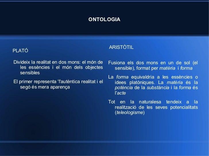 ONTOLOGIA <ul>PLATÓ </ul><ul>ARISTÒTIL </ul><ul><li>Fusiona els dos mons en un de sol (el sensible), format per  matèria  ...