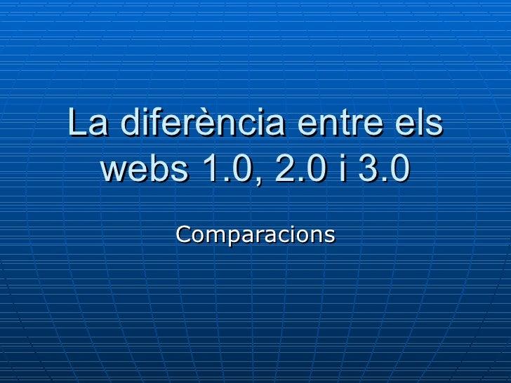 La diferència entre els webs 1.0, 2.0 i 3.0 Comparacions