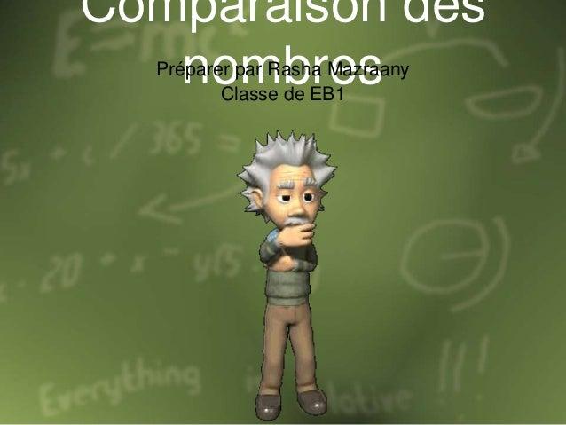 Comparaison des nombresPréparer par Rasha Mazraany Classe de EB1