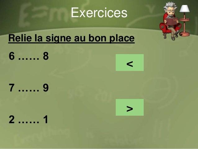 Exercices Compare par < , > ou = 13 16 1+2 3 18 10 4+6 10 20 30 3+2 7