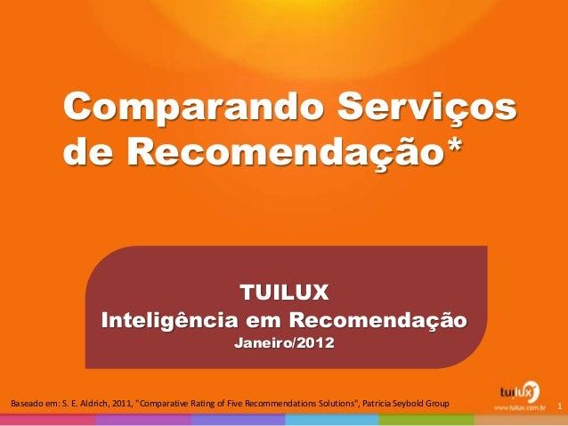 """Comparando Serviços de Recomendação* TUILUX Inteligência em Recomendação Janeiro/2012 1Baseado em: S. E. Aldrich, 2011, """"C..."""