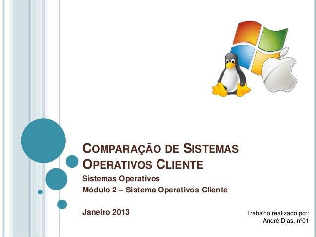 COMPARAÇÃO DE SISTEMASOPERATIVOS CLIENTESistemas OperativosMódulo 2 – Sistema Operativos ClienteJaneiro 2013              ...