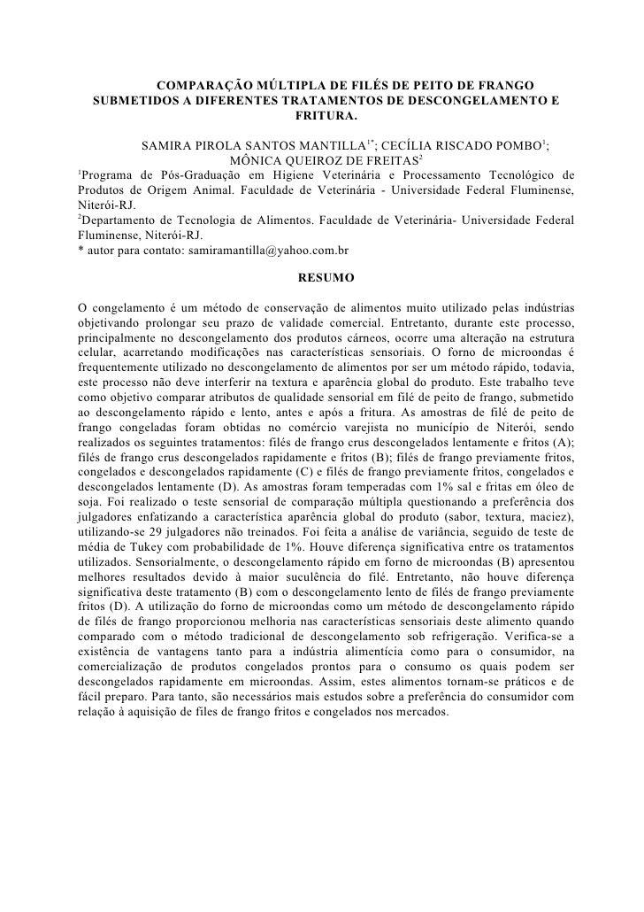 COMPARAÇÃO MÚLTIPLA DE FILÉS DE PEITO DE FRANGO   SUBMETIDOS A DIFERENTES TRATAMENTOS DE DESCONGELAMENTO E                ...