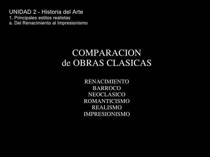 COMPARACION de OBRAS CLASICAS RENACIMIENTO BARROCO NEOCLASICO ROMANTICISMO REALISMO IMPRESIONISMO UNIDAD 2 - Historia del ...