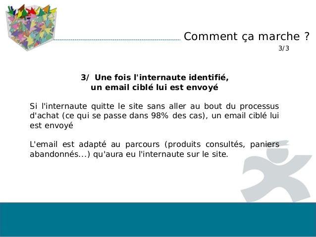 Comment ça marche ? 3/3 3/ Une fois l'internaute identifié, un email ciblé lui est envoyé Si l'internaute quitte le site s...
