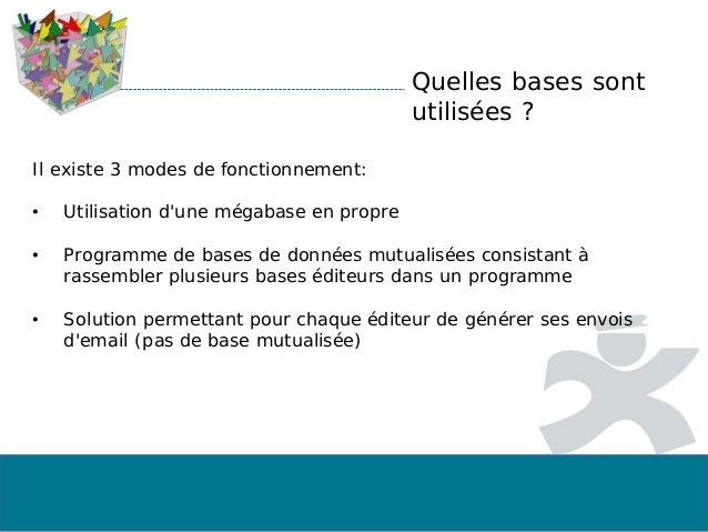 Quelles bases sont utilisées ? Il existe 3 modes de fonctionnement: • Utilisation d'une mégabase en propre • Programme de ...