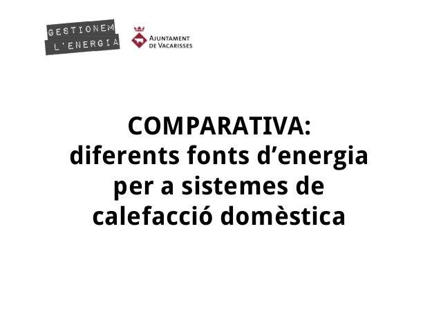 COMPARATIVA: diferents fonts d'energia per a sistemes de calefacció domèstica