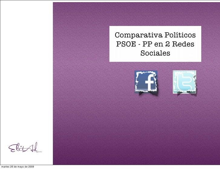 Comparativa Políticos                             PSOE - PP en 2 Redes                                   Sociales     mart...
