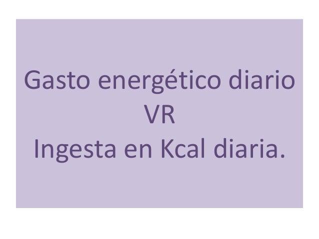 Gasto energético diario VR Ingesta en Kcal diaria.