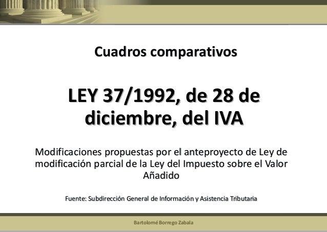 Bartolomé Borrego Zabala  LEY 37/1992, de 28 de diciembre, del IVA  Modificaciones propuestas por el anteproyecto de Ley d...