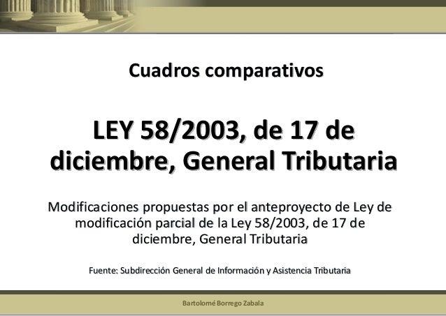Bartolomé Borrego Zabala  LEY 58/2003, de 17 de diciembre, General Tributaria  Modificaciones propuestas por el anteproyec...