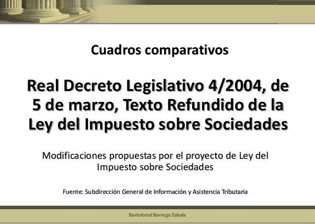 Bartolomé Borrego Zabala  Real Decreto Legislativo 4/2004, de 5 de marzo, Texto Refundido de la Ley del Impuesto sobre Soc...