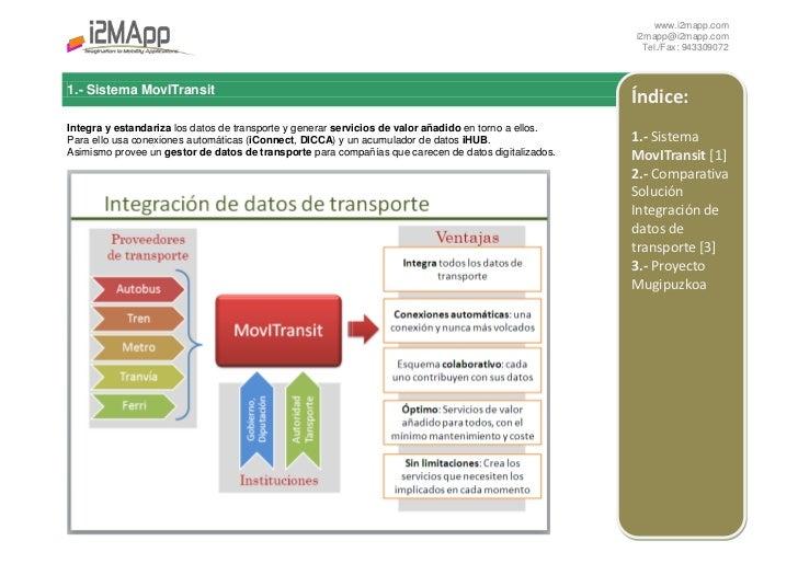 Índice:1.- Sistema MovITransit [1]2.- Comparativa Solución Integración de datos de transporte [3]<br />1.- Sistema MovITra...