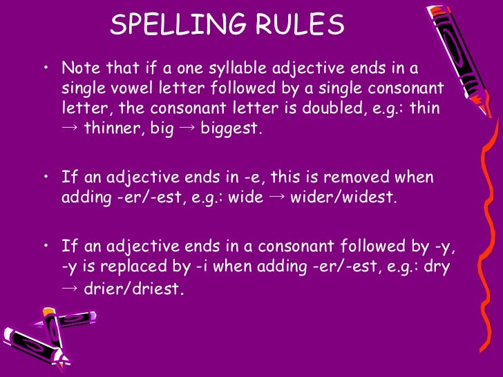SPELLING RULES <ul><li>Note that if a one syllable adjective ends in a single vowel letter followed by a single consonant ...