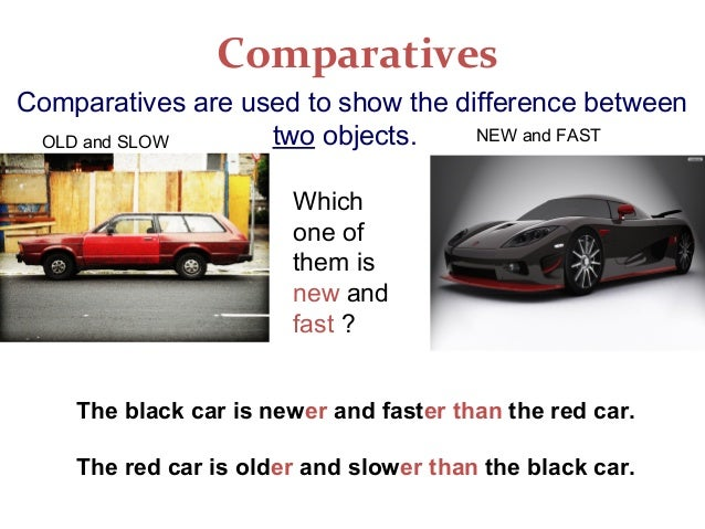 ComparativesComparatives are used to show the difference betweentwo objects.Whichone ofthem isnew andfast ?OLD and SLOW NE...