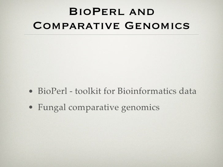 comparative genomics with gmod and bioperl