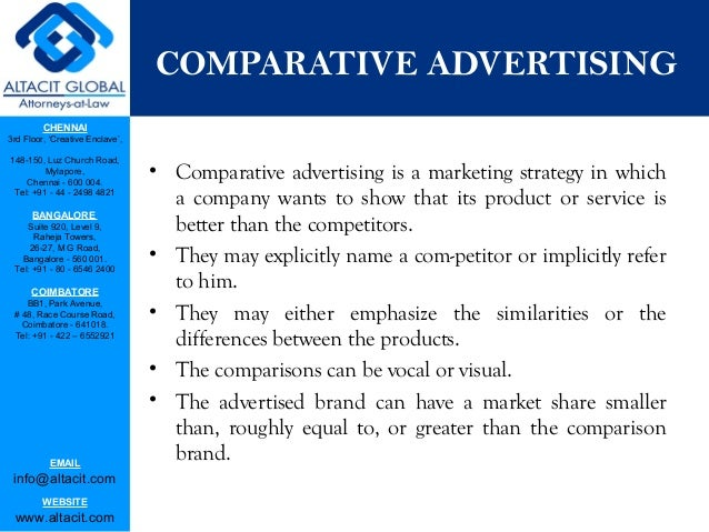 the term comparative advertising marketing essay Marketing management journal, spring 2011 introduction  brand in the  context of comparative versus noncomparative ad formats we examine the  influence of  influence the information processing strategies employed  in  terms of.
