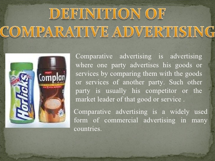 comparative advertising When a company points out its own advantage, or a competitor's weakness, in its advertising by making direct or indirect references to the competition, it's called comparative advertising in 1979.