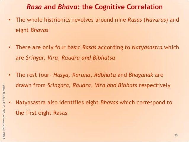 Rasa and Bhava: the Cognitive Correlation • The whole histrionics revolves around nine Rasas (Navaras) and eight Bhavas • ...
