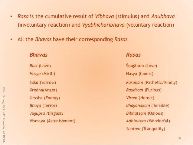 • Rasa is the cumulative result of Vibhava (stimulus) and Anubhava (involuntary reaction) and Vyabhicharibhava (voluntary ...