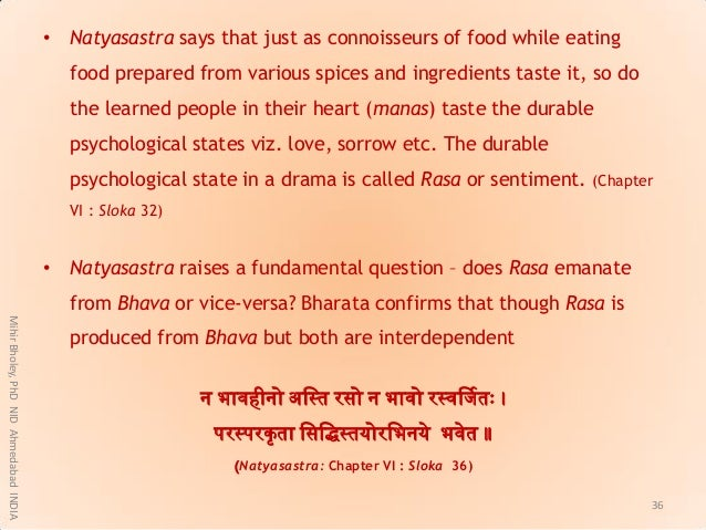 • Natyasastra says that just as connoisseurs of food while eating food prepared from various spices and ingredients taste ...