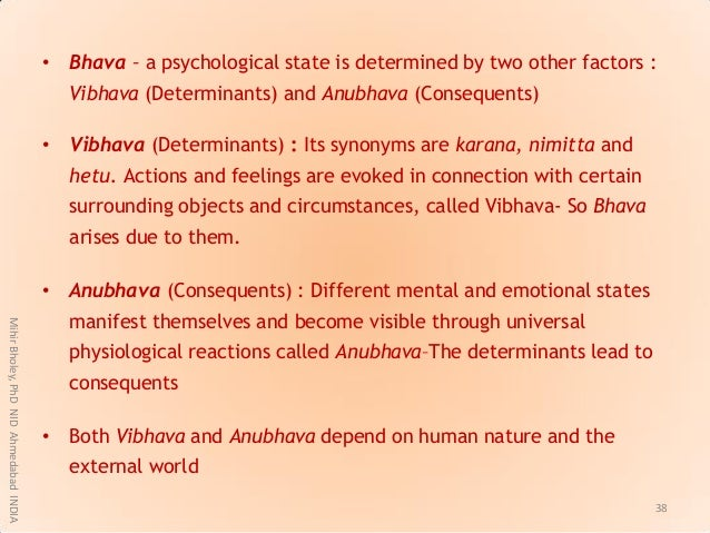 • Bhava – a psychological state is determined by two other factors : Vibhava (Determinants) and Anubhava (Consequents) • V...
