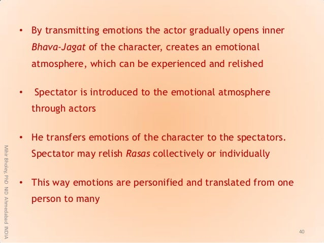 • By transmitting emotions the actor gradually opens inner Bhava-Jagat of the character, creates an emotional atmosphere, ...