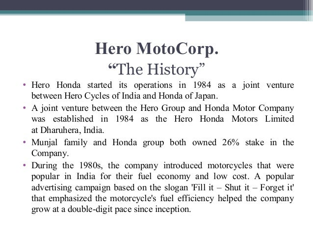 hero motocorp history Discover historical prices for heromotocobo stock on yahoo finance view daily, weekly or monthly formats back to when hero motocorp ltd stock was issued.
