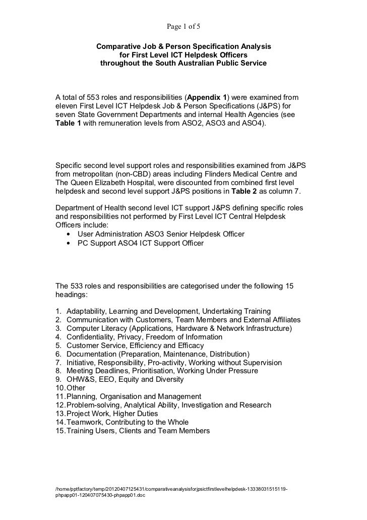 Page 1 of 5                 Comparative Job & Person Specification Analysis                       for First Level ICT Help...
