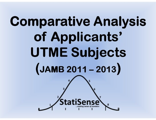 Comparative Analysis   of Applicants'  UTME Subjects   (JAMB 2011 – 2013)