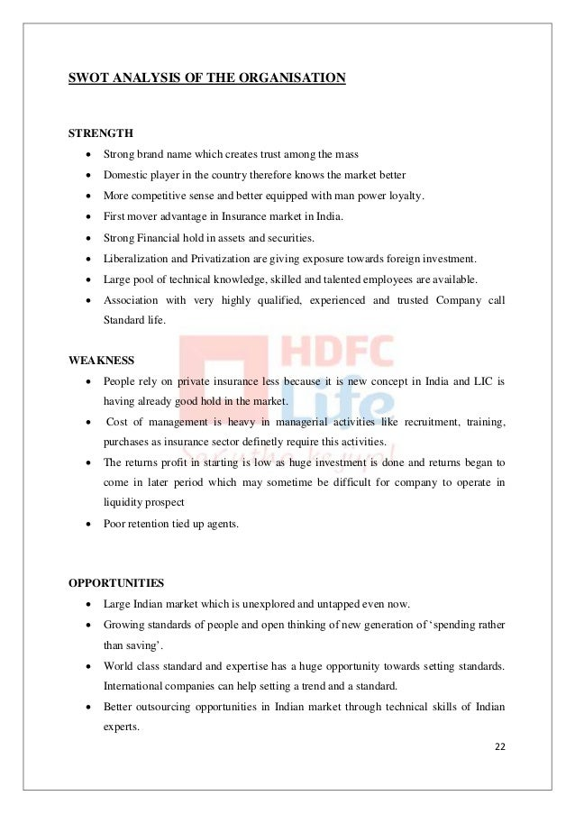 swot analysis of hdfc standard life Hdfc standard life between the housing finance major hdfc and the uk insurance giant standard life group brand analysis.