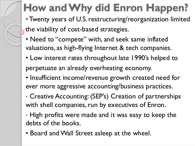 enron debacle In september 2001, the enron corporation ranked as the seventh largest u s transnational firm in terms of total balance-sheet revenues we now know how cooked its books really were but in the seven years preceding the scandal, fortune magazine had ranked enron as our most innovative firm what .