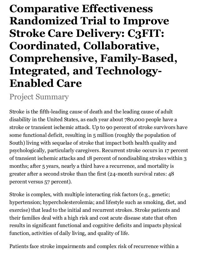 Comparative Effectiveness Randomized Trial to Improve Stroke Care Delivery: C3FIT: Coordinated, Collaborative, Comprehensi...