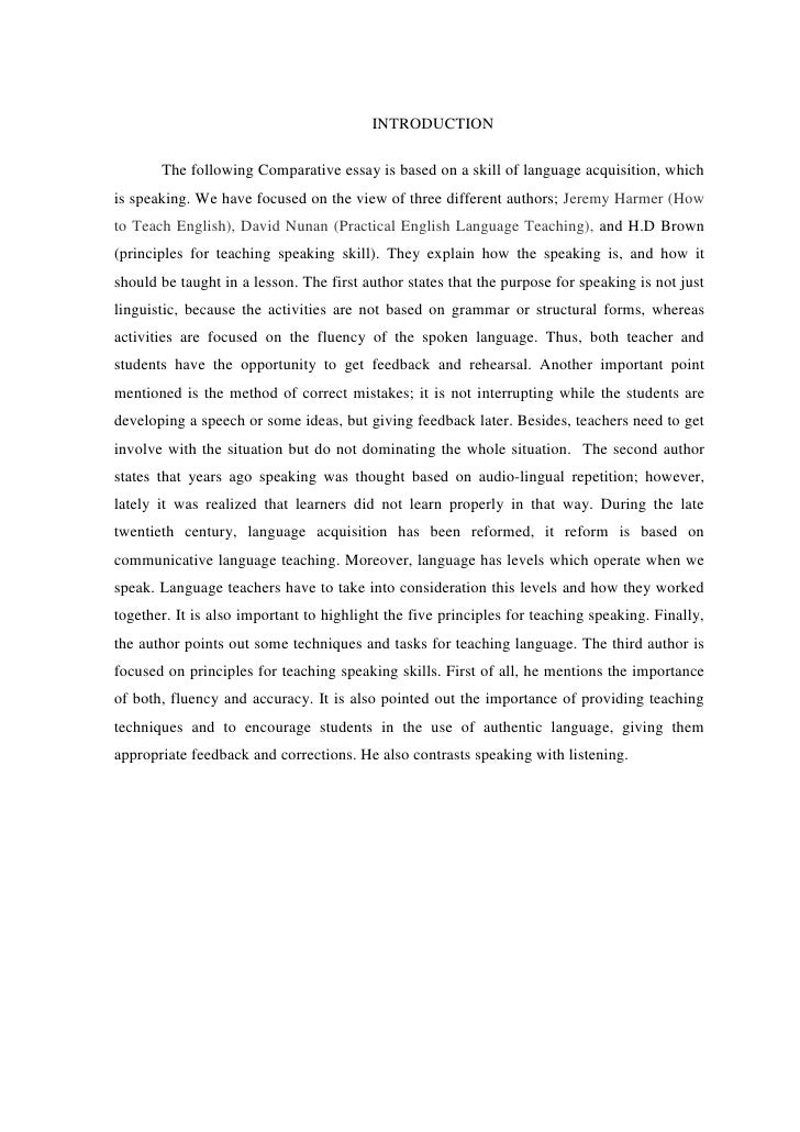 "introduction for comparative essay Compare and contrast essays by anne garrett page 2 • comparison discusses similarities (common properties) • contrast discusses introduction give the overall picture define the subject matter, give brief, all inclusive background and write a thesis statement that answers all the ""so what"" questions."