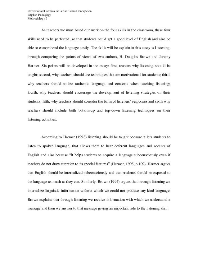 comparative essay between j harmer and h d douglas about listening  comparative essay between j harmer and h d douglas about listening teaching