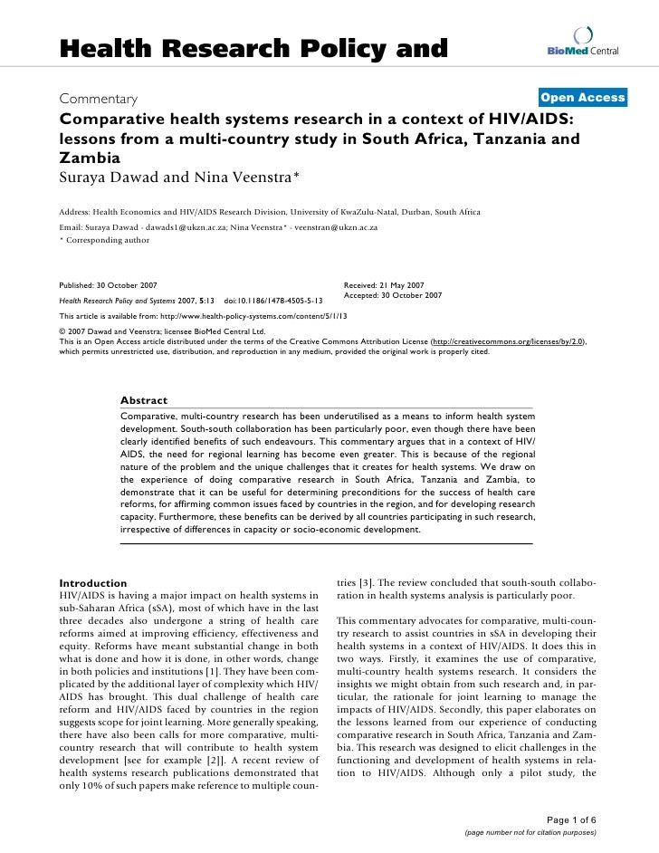 Comparative health systems research in a context of hiv aids  2007 1478-4505-5-13