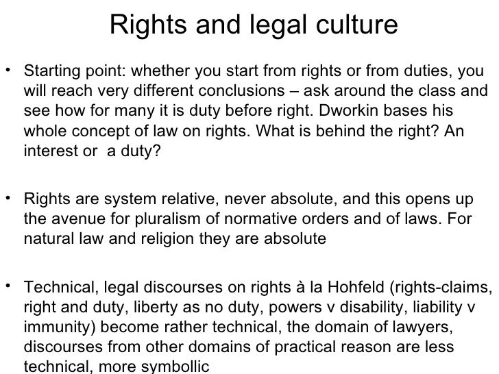 Rights and legal culture <ul><li>Starting point: whether you start from rights or from duties, you will reach very differe...