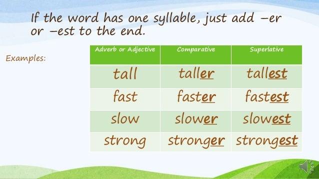 Comparative and superlative esl