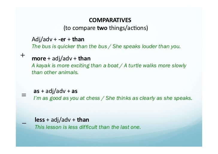 COMPARATIVES                             (to compare two things/ac1ons)       Adj/adv + -‐er + than  ...