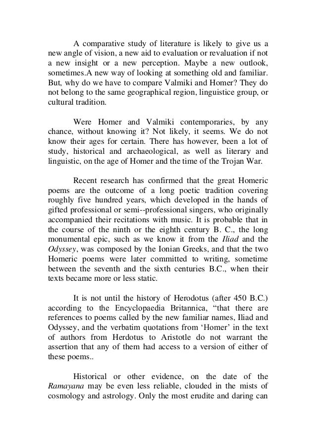 comparative study between homer and valmiki a comparative study of literature is likely to give us a new angle of vision
