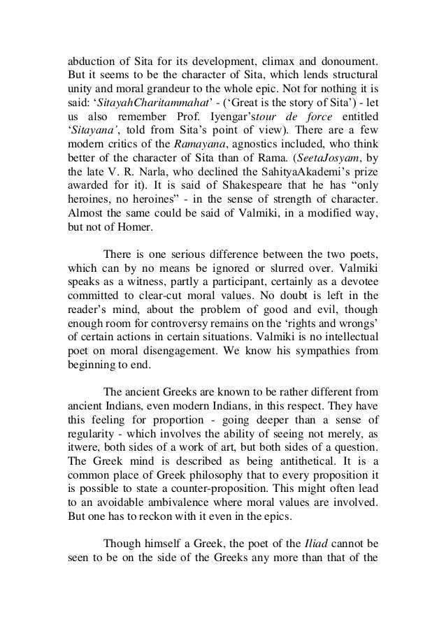 comparative study between homer and valmiki 6 abduction