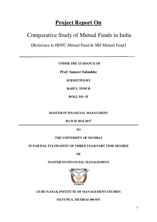 comparative study of mutual funds 1 socially responsible investments - a comparative performance study of the scandinavian mutual fund market andreas stang cristiana parisi - the department of operations management.